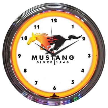 Ford Mustang Since 1964 Orange Neon Wall Clock